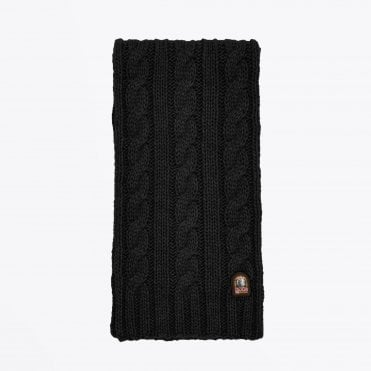 - Cable Knit Scarf - Black