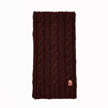 - Cable Knit Scarf - Burgundy