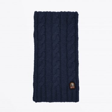- Cable Knit Scarf - Navy