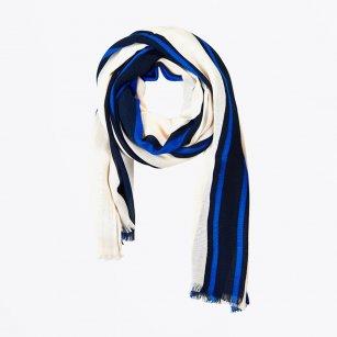 | Carola Bold Stripe Scarf - Blue