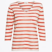 - Dosta Striped V-Neck Top - Light Orange