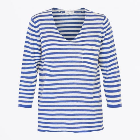 Part Two | Dosta - V Neck Stripe Knit - Blue