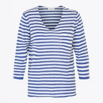 - Dosta - V Neck Stripe Knit - Blue