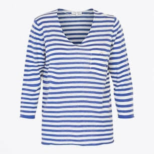 | Dosta - V Neck Stripe Knit - Blue