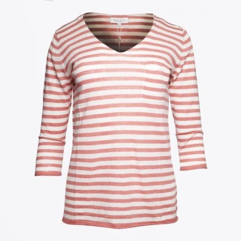 Part Two   Dosta V Neck Stripe Top - Light Pink