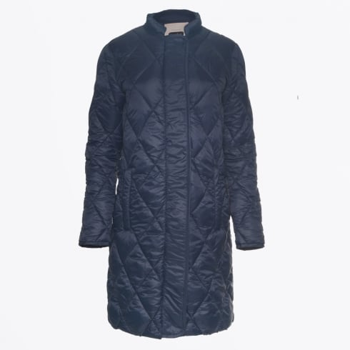 Part Two - Ernada Long Quilted Coat - Navy