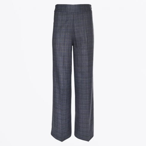 Part Two - Fritzy - Wide Leg Check Trouser - Dark Blue