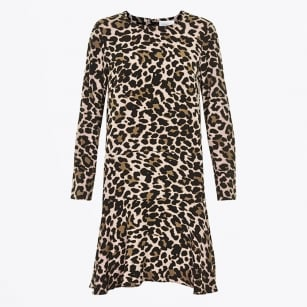 | Funda Leopard Flair Dress - Light Brown
