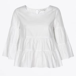 | Henricka Frill Blouse - Bright White