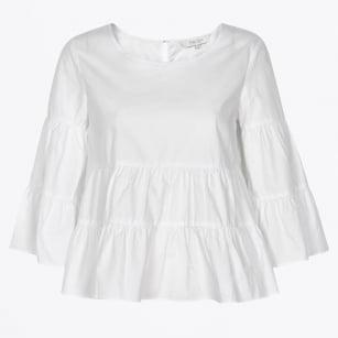 | Henricka Frill Blouse - Bright White