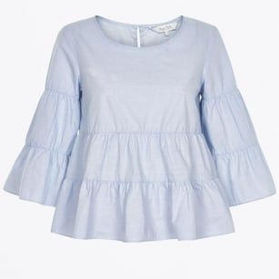 | Henricka Frill Blouse - Light Blue