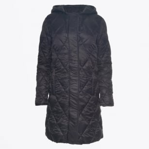 - Ilja Long Hooded Quilted Coat - Black