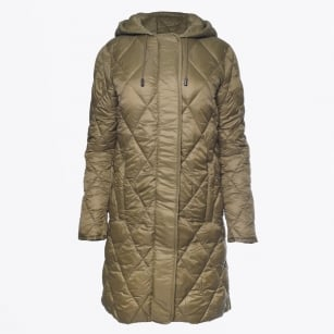 - Ilja Long Hooded Quilted Coat - Olive