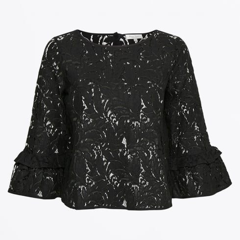 Part Two - Jo Lace Frill Blouse - Black
