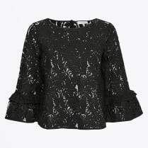 - Jo Lace Frill Blouse - Black