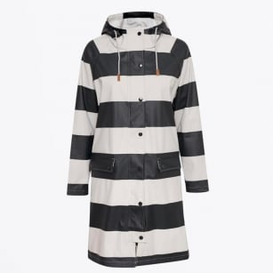 - Kaine Striped Raincoat - Artwork Dark Blue
