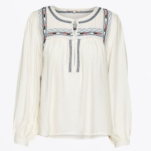 Part Two - Keisha Embroidered Blouse - Sea Salt