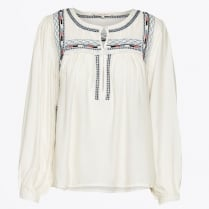 - Keisha Embroidered Blouse - Sea Salt