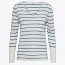 - Kosta Striped V Neck Knit - Light Blue