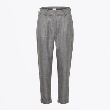 - Lacey - Tie-waist Suit Pants - Grey