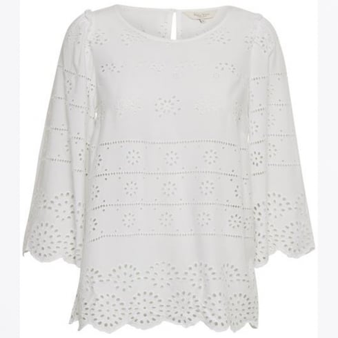 Part Two - Lark Embroidered Anglais Blouse - Bright White