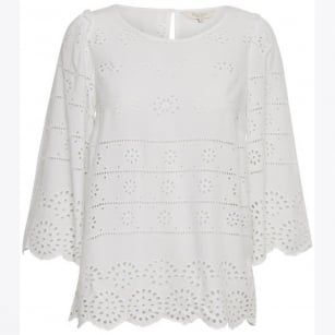 - Lark Embroidered Anglais Blouse - Bright White