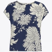 - Lisette Floral Print Top - Dark Blue