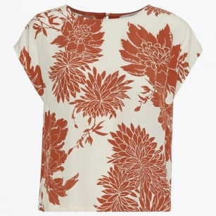 - Lisette Floral Print Top - Light Orange