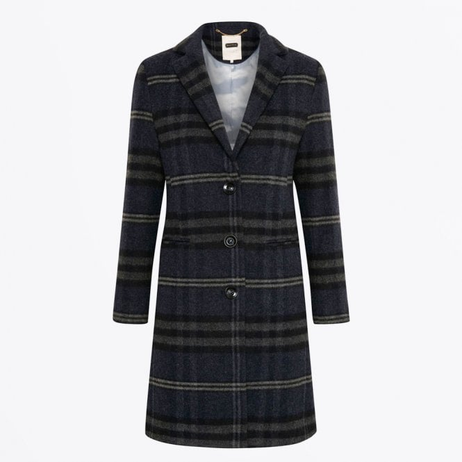 Part Two - Marie - Wool Checked Coat - Navy