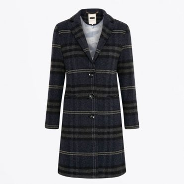 - Marie - Wool Checked Coat - Navy