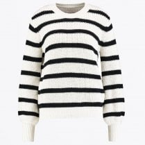 - Marna - Knitted Stripe Sweater - Off White