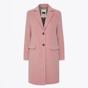 - Mary - Button-up Wool Coat - Pink