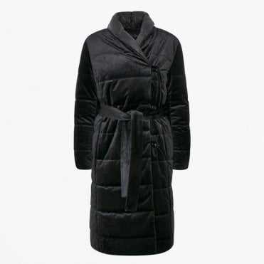 - Mistal - Velvet Quilted Coat - Black