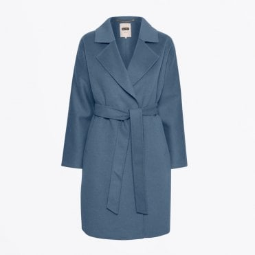 - Misty - Belted Wool Coat - Blue
