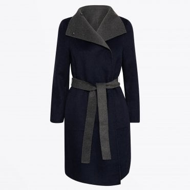 - Molly - Reversible Wool Coat - Navy/Grey