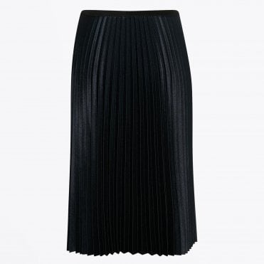 - Nayo - Midi Pleated Skirt - Navy