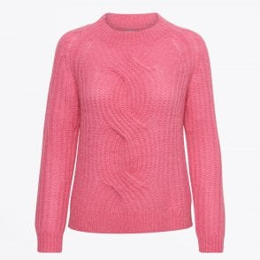 - Nima - Cable Knit Pullover - Pink