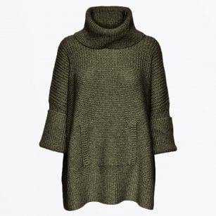 - Tocca - Oversized Knitted Poncho - Green