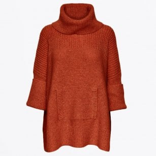 - Tocca - Oversized Knitted Poncho - Orange