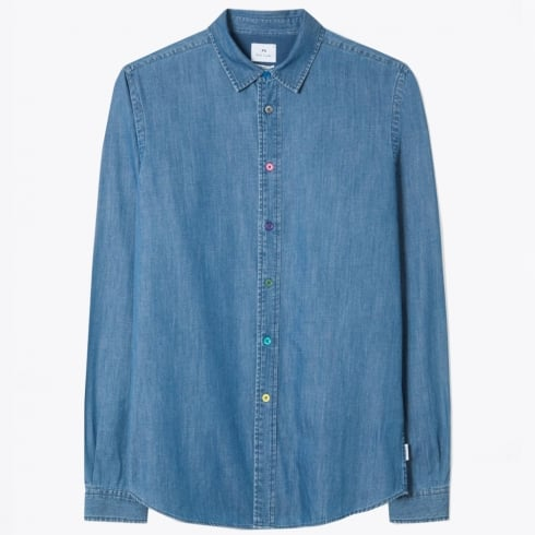 PS Paul Smith - Denim Shirt with Multi-Coloured Buttons - Blue