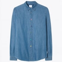 - Denim Shirt with Multi-Coloured Buttons - Blue