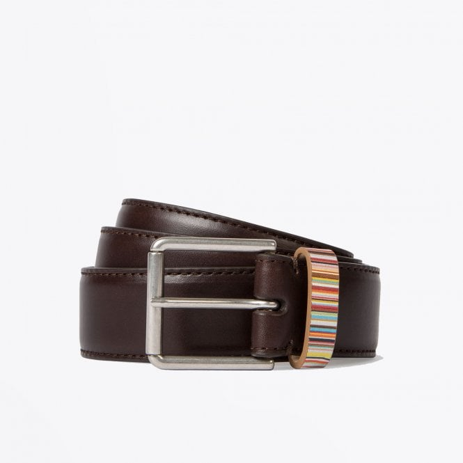 Paul Smith - Leather 'Signature Stripe' Belt - Brown