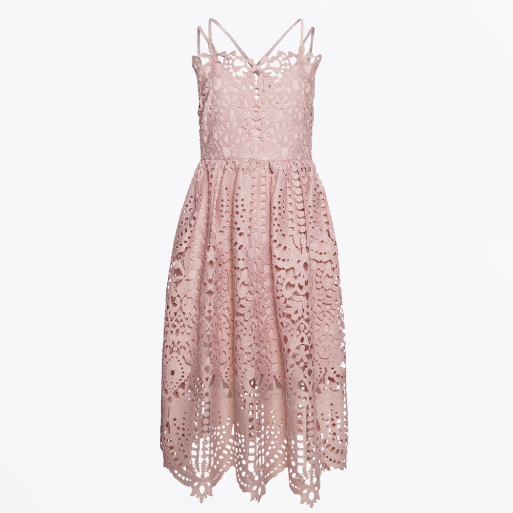 Perseverance London Guipure Lace Dress Pink