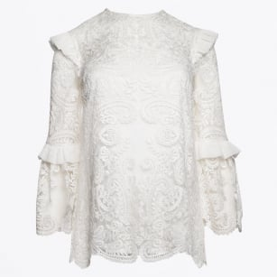 | Lace Rose Embroidered Top - Off White