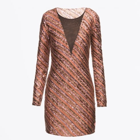 Pinko - Marybell Sequinned V Mesh Dress - Bronze