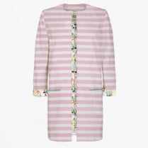 - Collarless Stripy Jacket - Pink