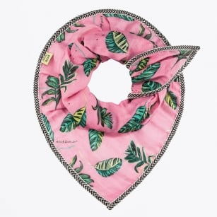 - Jungle Leaves Print Scarf - Pink