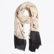 - Ski Print Scarf - Light Pink