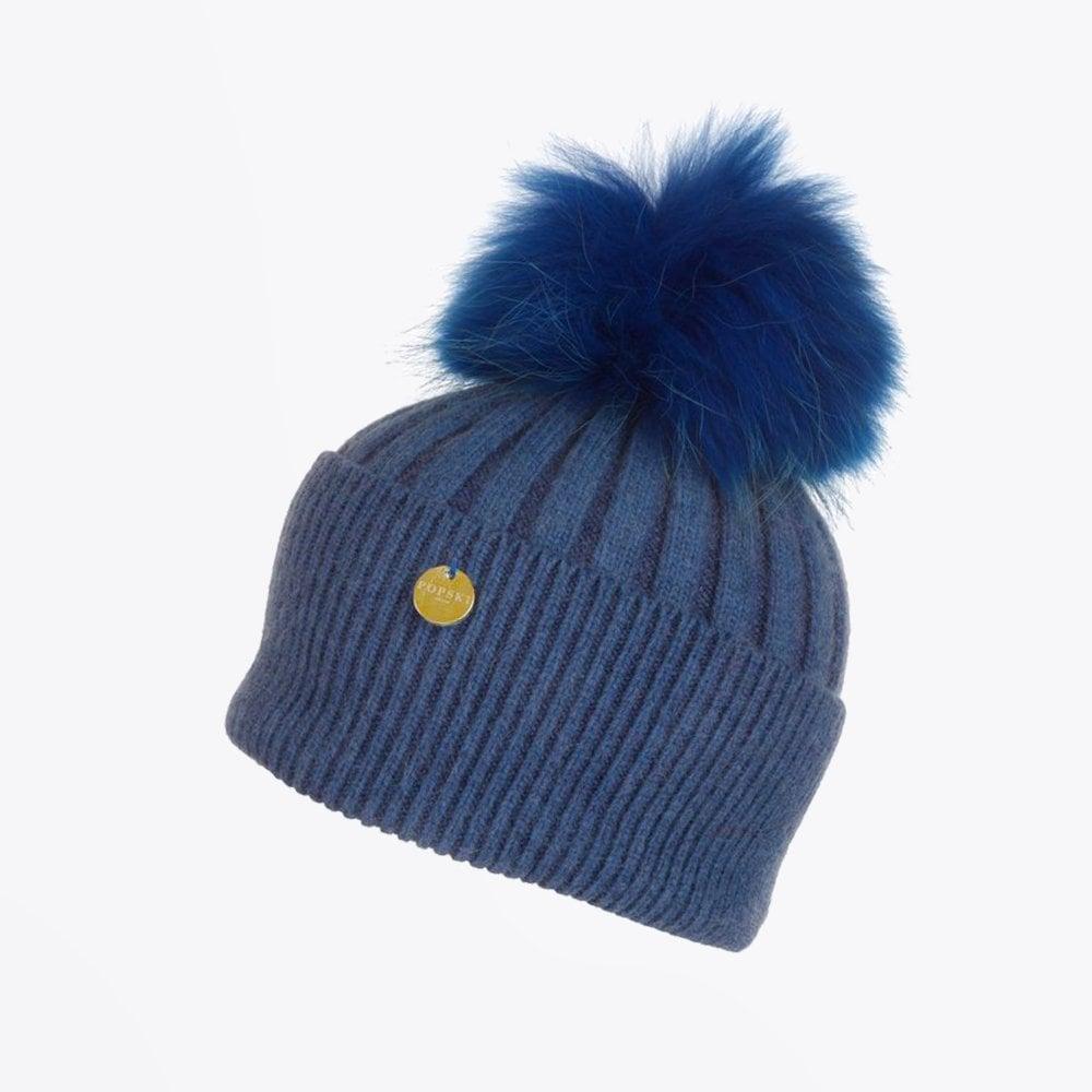 Popski - Angora Fur Pom Pom Hat - Blue - Mr   Mrs Stitch 0dc3e78f093