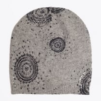 - Art Deco Embellished Beanie Hat - Charcoal